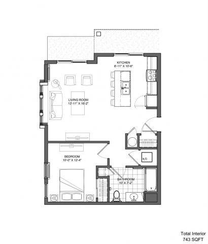 One Bedroom (743 sq.ft.)