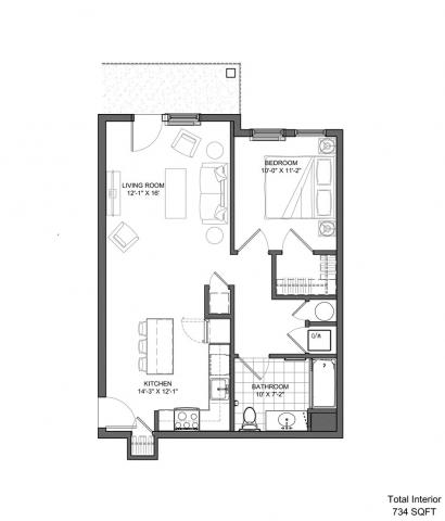 Layout 2 - One Bedroom (734 sq.ft.)